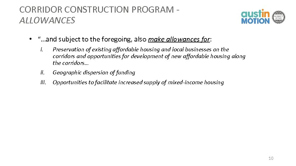 "CORRIDOR CONSTRUCTION PROGRAM - ALLOWANCES • ""…and subject to the foregoing, also make allowances"