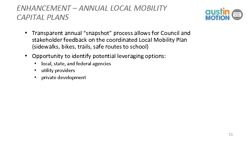 "ENHANCEMENT – ANNUAL LOCAL MOBILITY CAPITAL PLANS • Transparent annual ""snapshot"" process allows for"