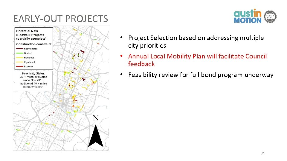 EARLY-OUT PROJECTS • Project Selection based on addressing multiple city priorities • Annual Local