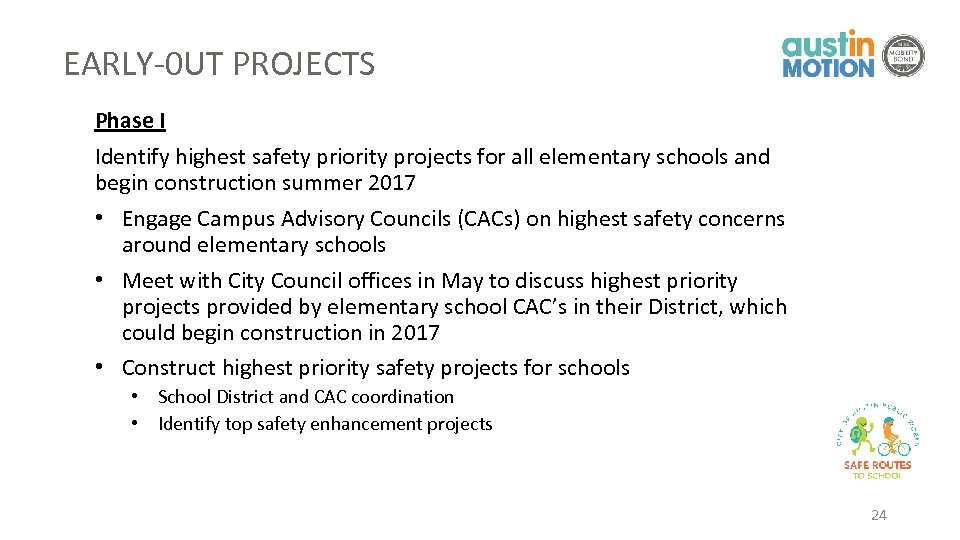 EARLY-0 UT PROJECTS Phase I Identify highest safety priority projects for all elementary schools