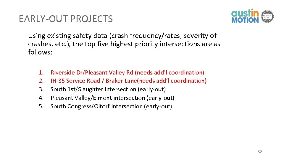 EARLY-OUT PROJECTS Using existing safety data (crash frequency/rates, severity of crashes, etc. ), the