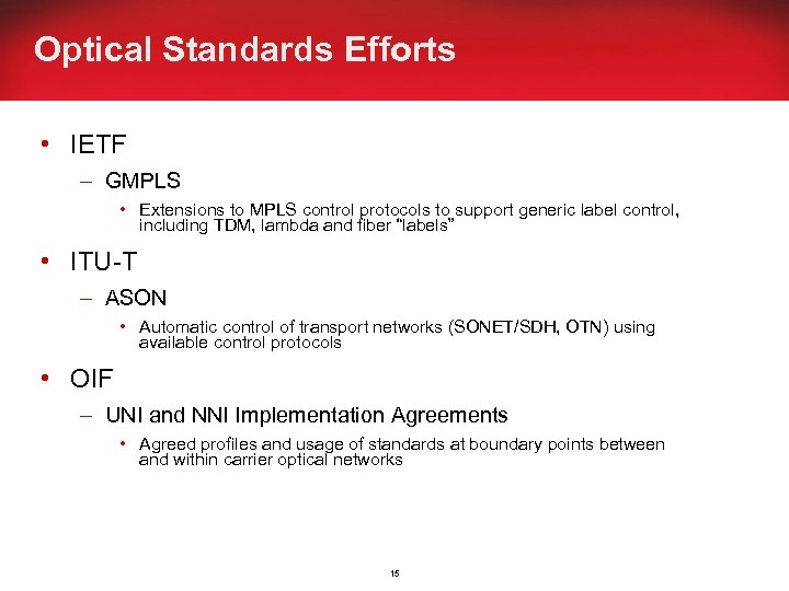 Optical Standards Efforts • IETF – GMPLS • Extensions to MPLS control protocols to