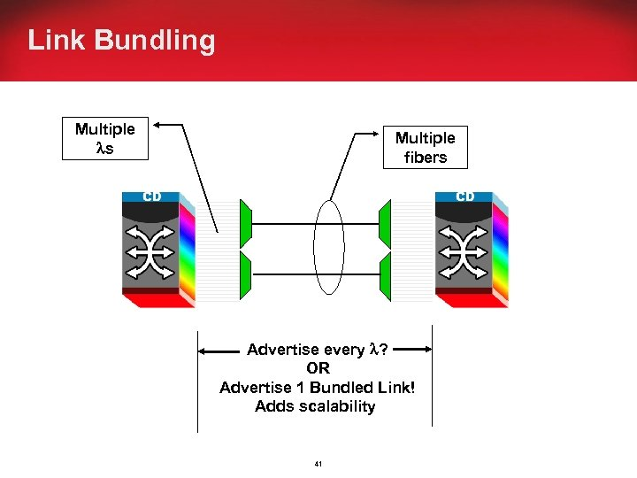 Link Bundling Multiple s Multiple fibers Advertise every ? OR Advertise 1 Bundled Link!
