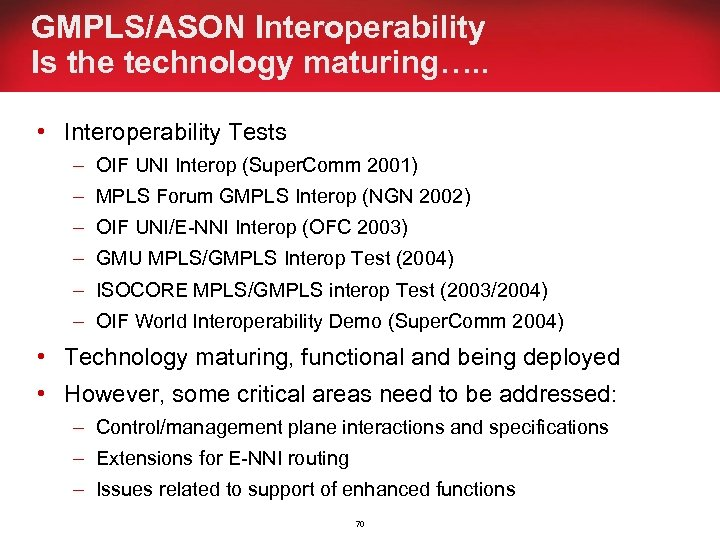 GMPLS/ASON Interoperability Is the technology maturing…. . • Interoperability Tests – OIF UNI Interop