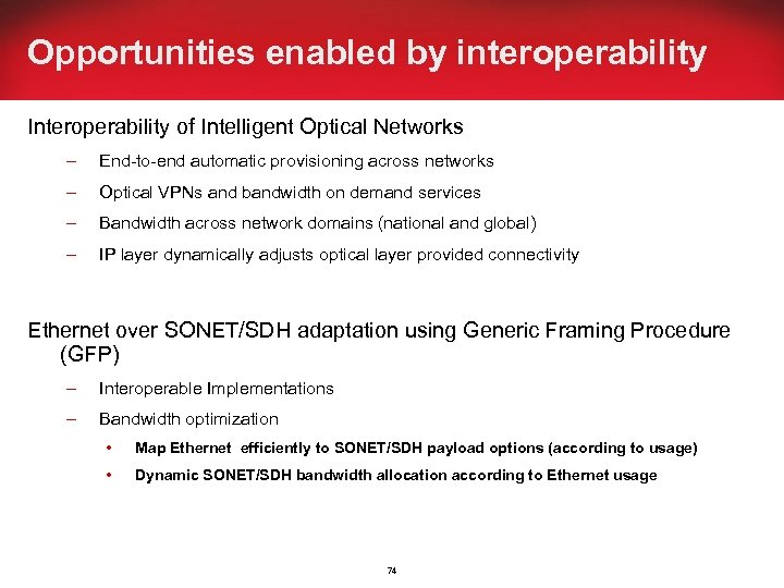 Opportunities enabled by interoperability Interoperability of Intelligent Optical Networks – End-to-end automatic provisioning across