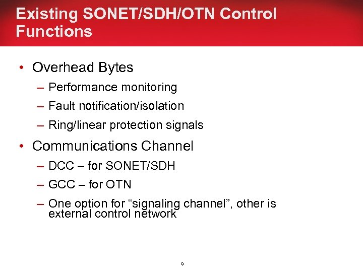 Existing SONET/SDH/OTN Control Functions • Overhead Bytes – Performance monitoring – Fault notification/isolation –