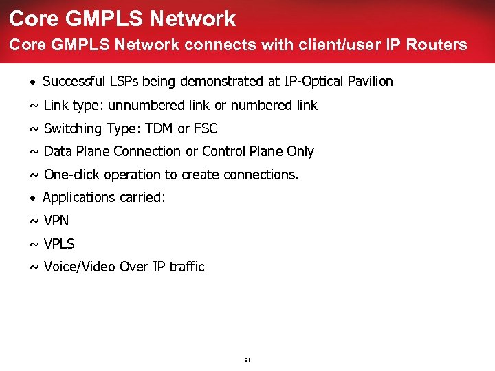 Core GMPLS Network connects with client/user IP Routers · Successful LSPs being demonstrated at