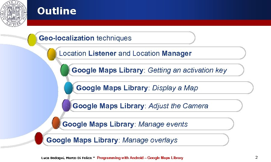 Outline Geo-localization techniques Location Listener and Location Manager Google Maps Library: Getting an activation