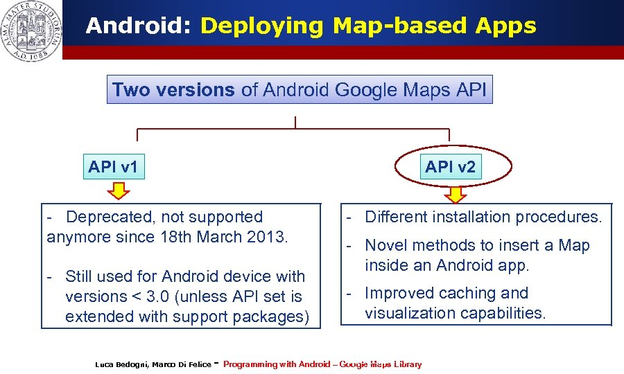 Android: Deploying Map-based Apps Two versions of Android Google Maps API v 1 API
