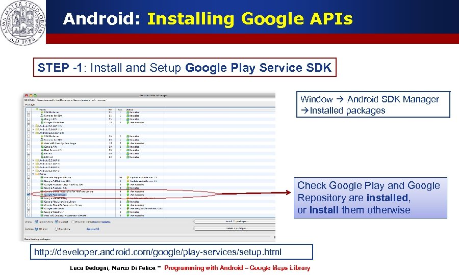 Android: Installing Google APIs STEP -1: Install and Setup Google Play Service SDK Window