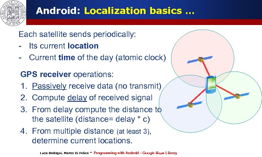 Android: Localization basics … Each satellite sends periodically: - Its current location - Current