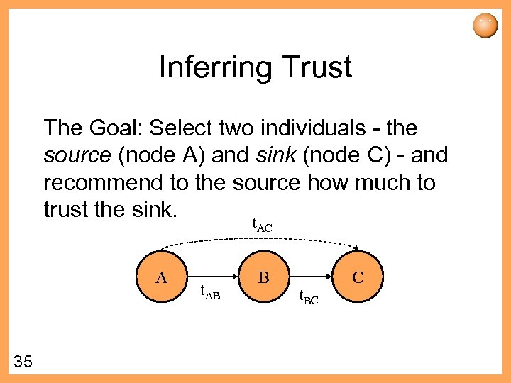 Inferring Trust The Goal: Select two individuals - the source (node A) and sink