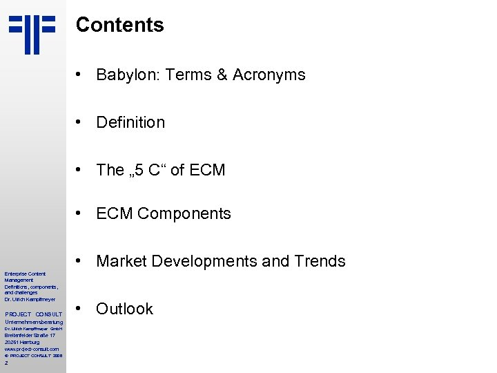 """Contents • Babylon: Terms & Acronyms • Definition • The """" 5 C"""" of"""