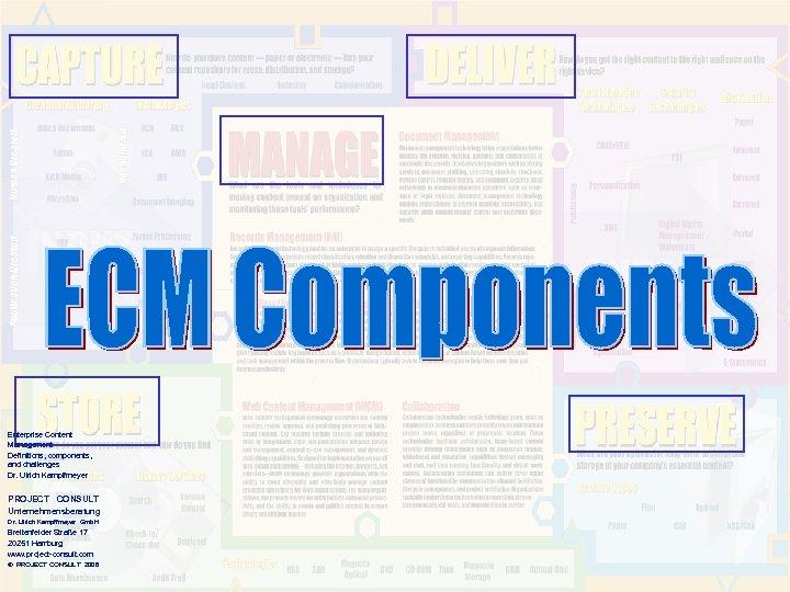 Enterprise Content Management Definitions, components, and challenges Dr. Ulrich Kampffmeyer PROJECT CONSULT Unternehmensberatung Dr.