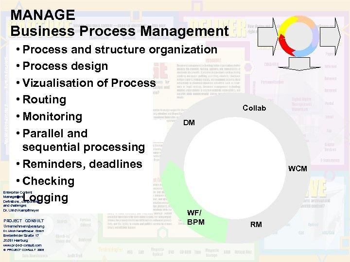 MANAGE Business Process Management • Process and structure organization • Process design • Vizualisation
