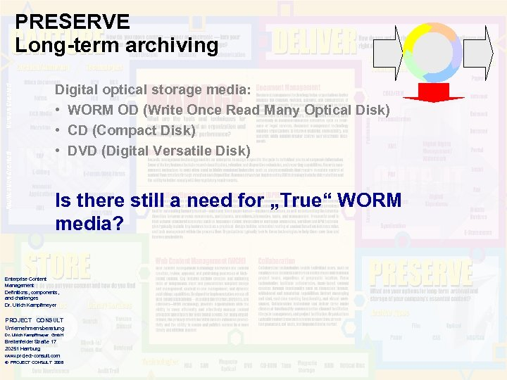 PRESERVE Long-term archiving Digital optical storage media: • WORM OD (Write Once Read Many