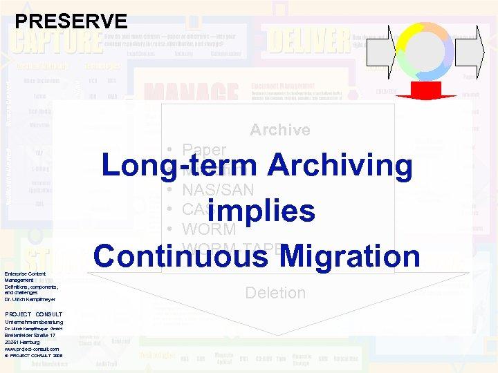 PRESERVE Archive • • • Enterprise Content Management Definitions, components, and challenges Dr. Ulrich