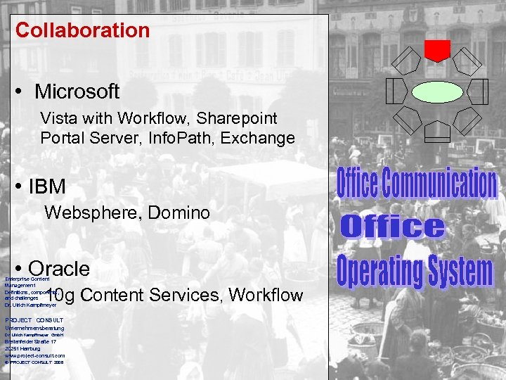 Collaboration • Microsoft Vista with Workflow, Sharepoint Portal Server, Info. Path, Exchange • IBM