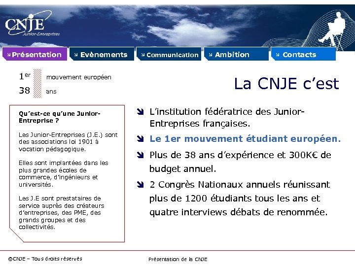 Présentation Evènements 1 er Ambition mouvement européen 38 Communication ans Qu'est-ce qu'une Junior. Entreprise