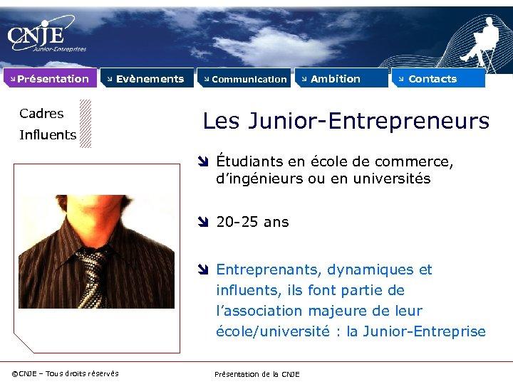 Présentation Evènements Cadres Influents Communication Ambition Contacts Les Junior-Entrepreneurs Étudiants en école de commerce,