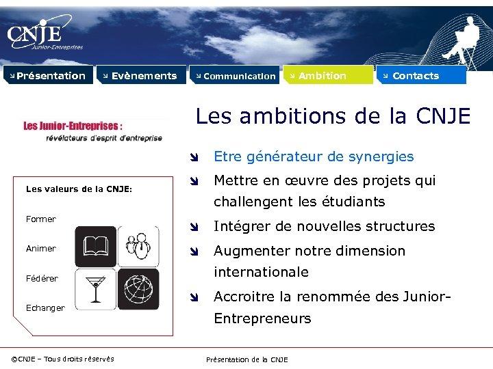 Présentation Evènements Communication Ambition Contacts Les ambitions de la CNJE Les valeurs de la