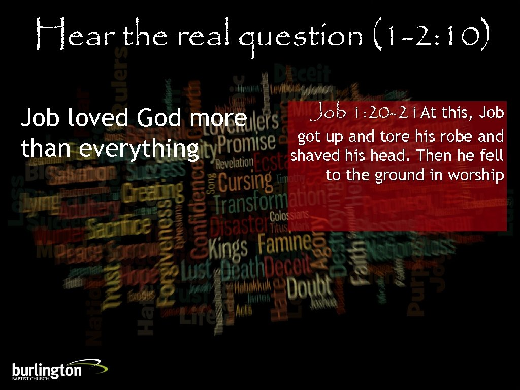 Hear the real question (1 -2: 10) Job loved God more than everything Job