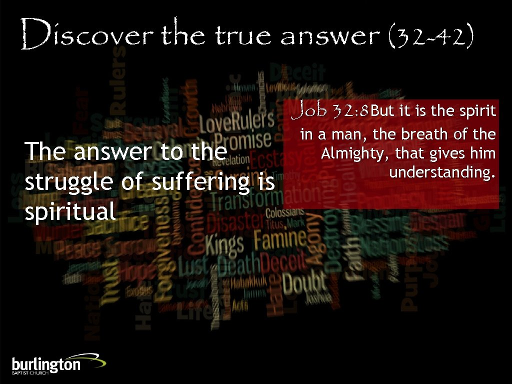 Discover the true answer (32 -42) Job 32: 8 But it is the spirit