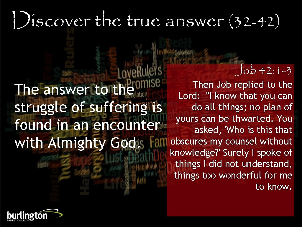 Discover the true answer (32 -42) The answer to the struggle of suffering is
