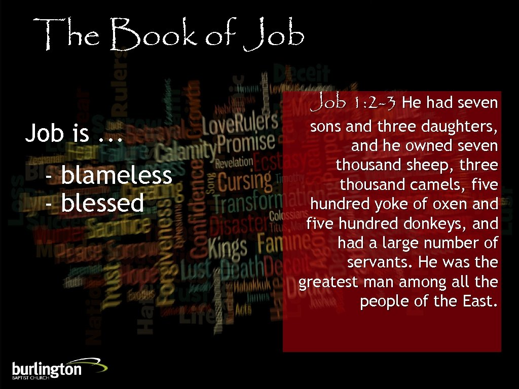 The Book of Job is. . . - blameless - blessed Job 1: 2