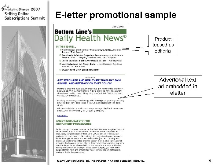 E-letter promotional sample Product teased as editorial Advertorial text ad embedded in eletter More