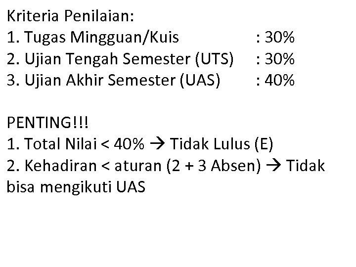 Kriteria Penilaian: 1. Tugas Mingguan/Kuis 2. Ujian Tengah Semester (UTS) 3. Ujian Akhir Semester