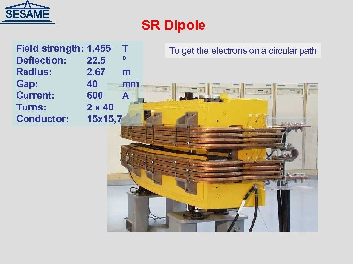 SR Dipole Field strength: 1. 455 T Deflection: 22. 5 ° Radius: 2. 67