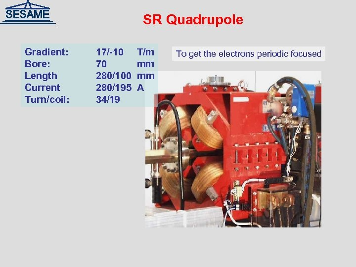 SR Quadrupole Gradient: Bore: Length Current Turn/coil: 17/-10 70 280/100 280/195 34/19 T/m mm