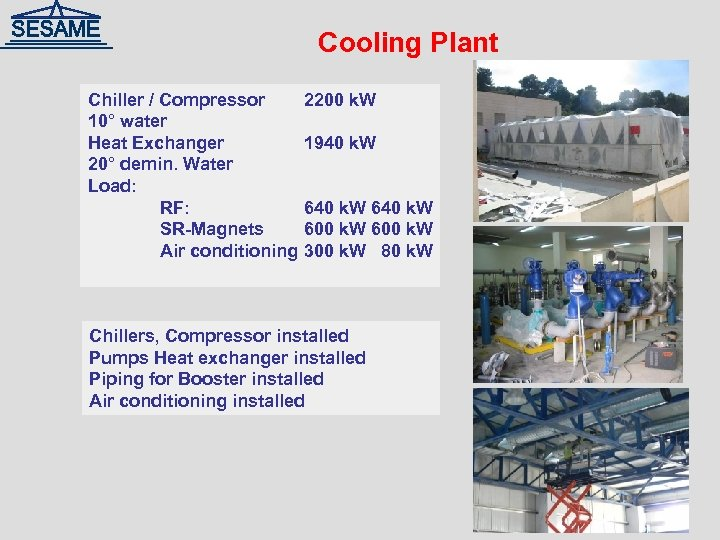 Cooling Plant Chiller / Compressor 10° water Heat Exchanger 20° demin. Water Load: RF: