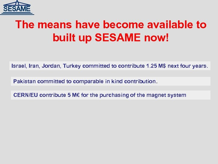 The means have become available to built up SESAME now! Israel, Iran, Jordan, Turkey