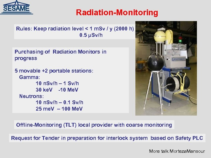 Radiation-Monitoring Rules: Keep radiation level < 1 m. Sv / y (2000 h) 0.