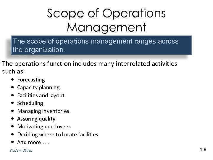 Scope of Operations Management The scope of operations management ranges across the organization. The