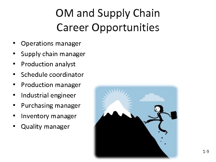 OM and Supply Chain Career Opportunities • • • Operations manager Supply chain manager