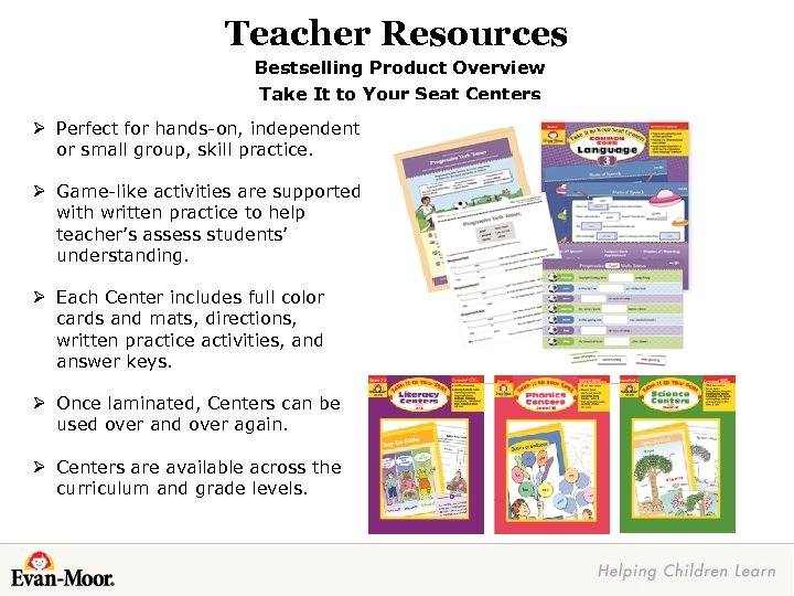 Teacher Resources Bestselling Product Overview Take It to Your Seat Centers Ø Perfect for