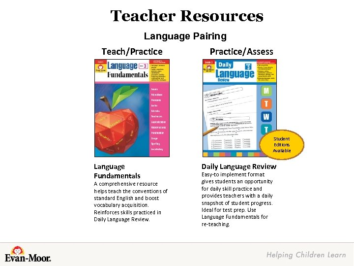 Teacher Resources Language Pairing Teach/Practice/Assess Student Editions Available Language Fundamentals A comprehensive resource helps