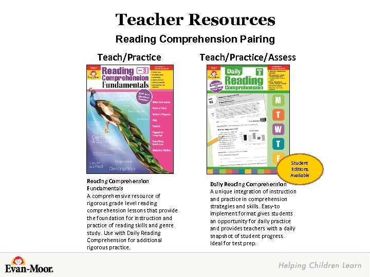 Teacher Resources Reading Comprehension Pairing Teach/Practice Reading Comprehension Fundamentals A comprehensive resource of rigorous