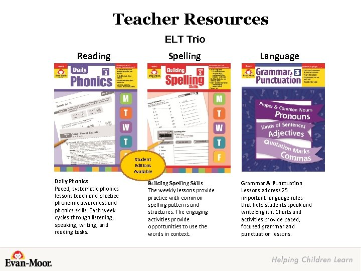 Teacher Resources ELT Trio Reading Spelling Language Student Editions Available Daily Phonics Paced, systematic