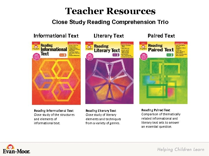 Teacher Resources Close Study Reading Comprehension Trio Informational Text Reading Informational Text Close study