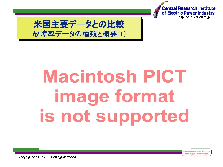 http: //criepi. denken. or. jp 米国主要データとの比較 故障率データの種類と概要(1) Copyright © 2003 CRIEPI All rights reserved