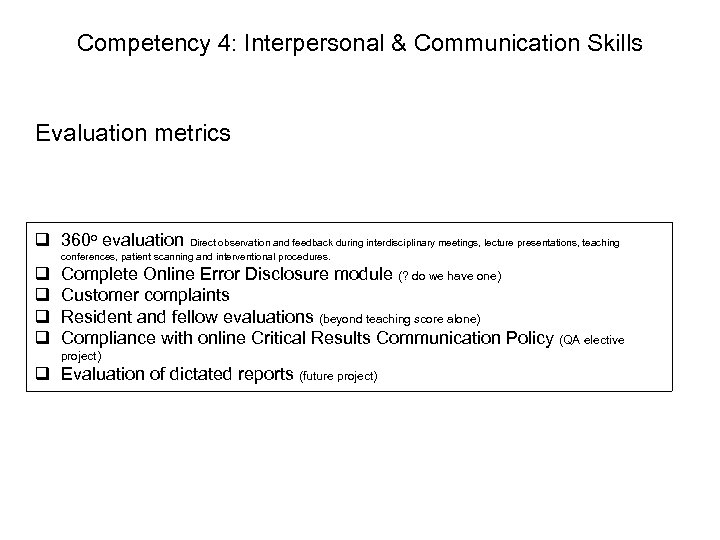 Competency 4: Interpersonal & Communication Skills Evaluation metrics q 360 o evaluation Direct observation