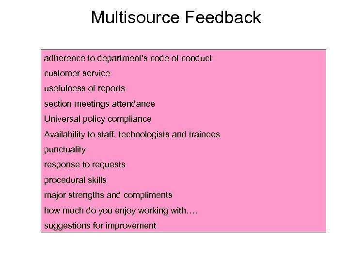 Multisource Feedback adherence to department's code of conduct customer service usefulness of reports section