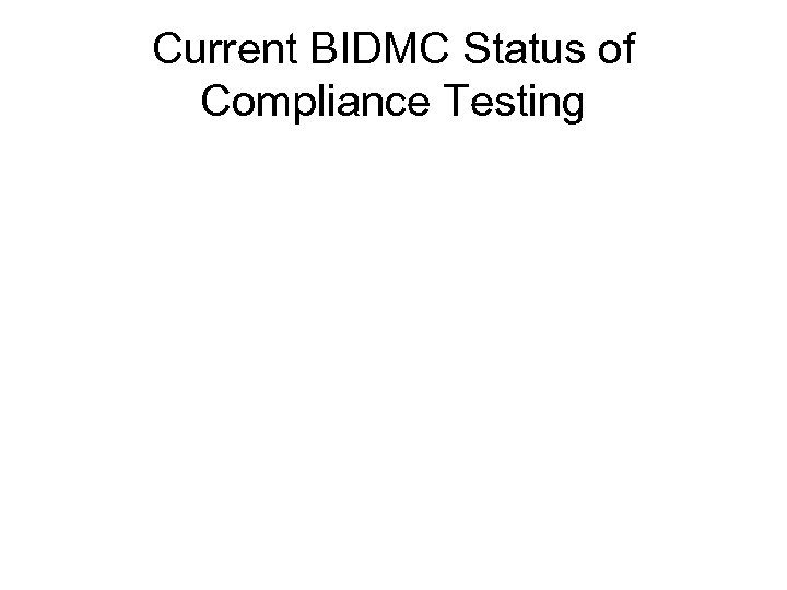 Current BIDMC Status of Compliance Testing