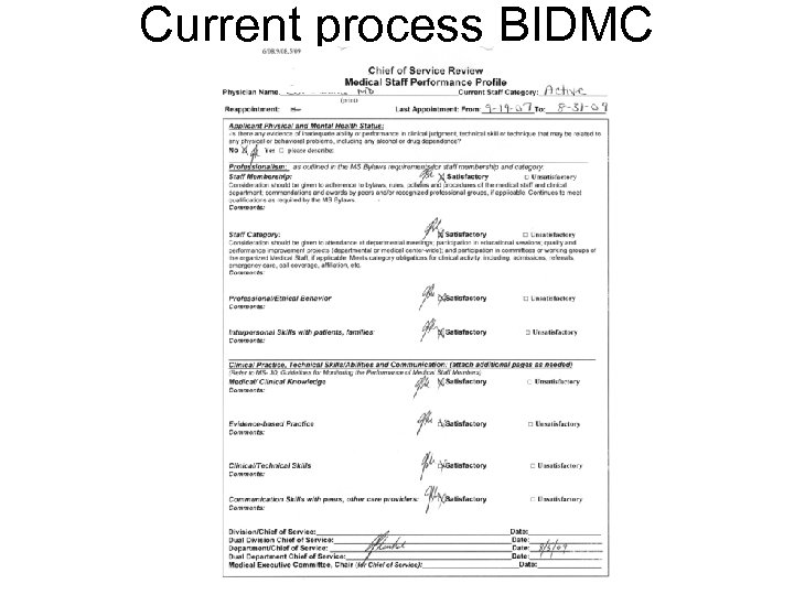 Current process BIDMC