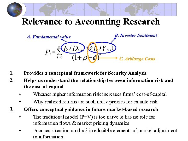 Relevance to Accounting Research A. Fundamental value B. Investor Sentiment C. Arbitrage Costs 1.