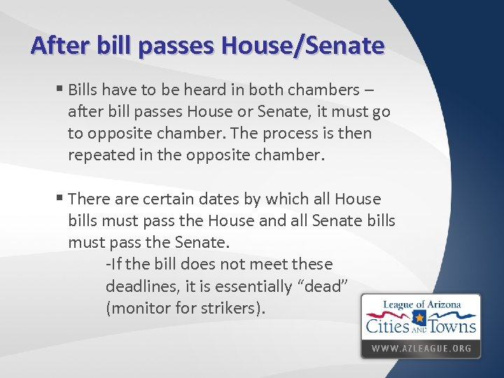 After bill passes House/Senate § Bills have to be heard in both chambers –